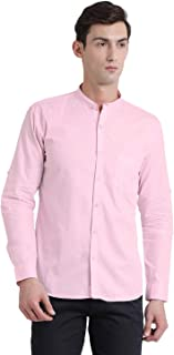 BEING FAB Men's Solid Casual Baby Pink Shirt