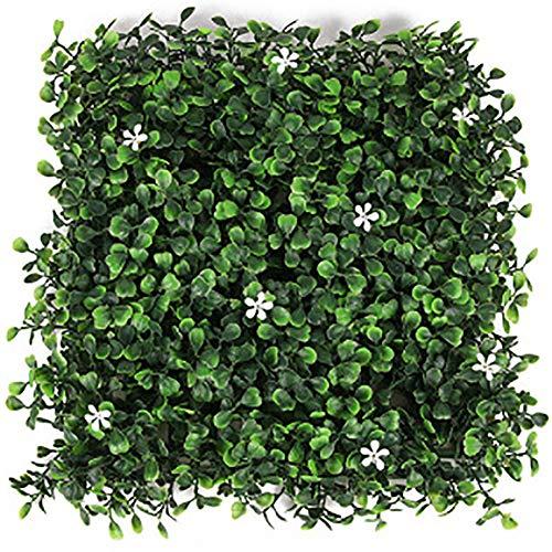 Hedge 20pcsMerchants artificial de la planta al aire libre boj, hiedra Sustituto de privacidad Valla de cobertura paneles Topiary verdor para cubierta, jardín, cerca, jardín y decoración,50cmX50cm