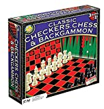 Classic Checkers, Chess and Backgammon Set - For Ages 7 Years and Up