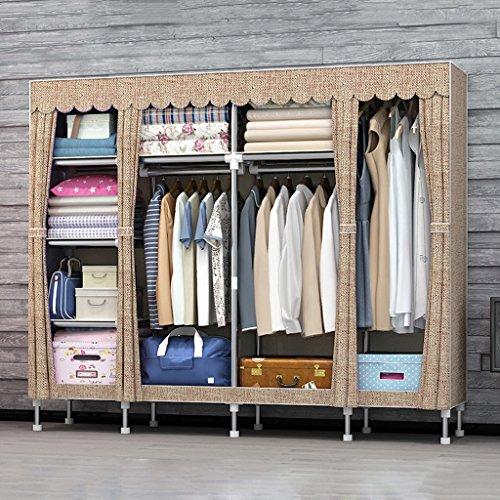 Guardarropa QFF Armario económico Simple Moderno Armario de plástico Armario de Acero Armarios de armazón Dormitorio (Color : #4)