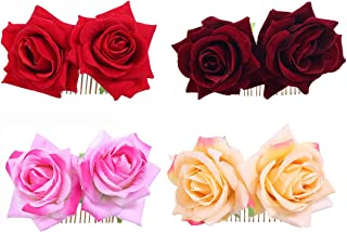 Ever Fairy Rose Flower Hair Clip Comb Slide Flamenco Dancer Pin Flower Brooch Lady Hair Styling Clip Hair Accessories