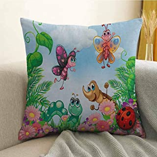Garden Pillowcase Hug Pillowcase Cushion Pillow Gardening Theme Illustration of Butterfly Ladybug Worm Flowers and Grass Anti-Wrinkle Fading Anti-fouling W16 x L16 Inch Jade Green Fern Green