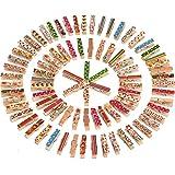 Mini Pinzas para Manualidad Clavijas de Madera, Colores Variados, 100 Piezas