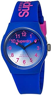 Superdry Unisex-Adult Quartz Unisex Urban Analog Quartz Watch with Laser Blue Silicone Strap Analog Display and Silicone Strap, SYG198UU