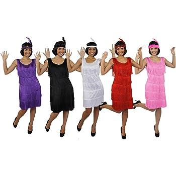 ILOVEFANCYDRESS Disfraz DE Flapper Mujer - Vestido con Flecos DE ...