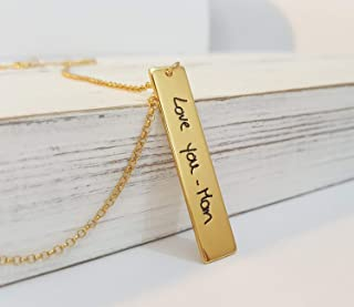 Personalized Signature Vertical Bar Necklace with Actual Handwriting, Custom Made Handwritten Jewelry, Sterling Silver