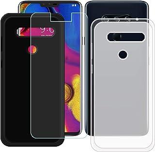 YZKJ [2 stycken skal för LG V40 ThinQ Cover svart halvlätt mjukt silikon skyddande skal TPU skal skal skal 1 x pansarglas ...