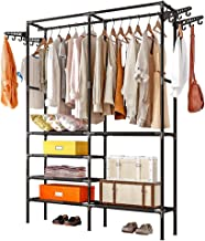 ZZBIQS 5 Tiers Metal Garment Rack Heavy Duty Clothing Rack Wardrobe Closet with Shelves and 4 Side Hook , Compact Armoire ...