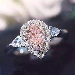 خاتم زفاف من يورين، 3 قطع/ لون وردي/ أبيض مع قطرة ماء CZ 925 فضة للنساء مقاس 4-9 (الرمز الأمريكي 7)