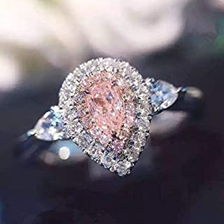 Yuren 3ct Pink/White Water Drop CZ Wedding Ring 925 Silver Women`s Engagement Size 4-9 (US Code 6)