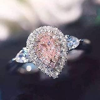 Yuren 3ct Pink/White Water Drop CZ Wedding Ring 925 Silver Women's Engagement Size 4-9 (US Code 9)