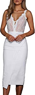 Women's Vintage Sexy Lace Deep V Neck Backless Hollow Bodycon Irregular Tassels Dress for Party Cocktail