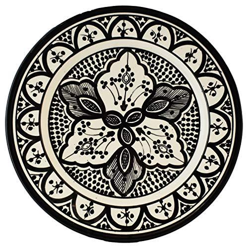 Orientalische Keramikschale Keramikteller Achmet Schwarz 23cm Groß | farbige marokkanische Keramik Schale Teller rund aus Marokko | Orient große Keramikschalen flach Geschirr orientalisch handbemalt
