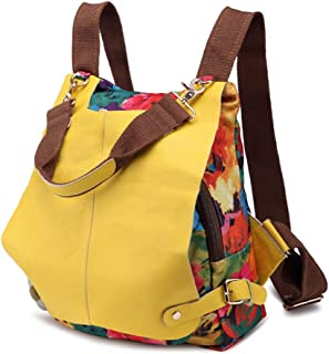 Leather Printed Ladies Backpack National Style Canvas Bag Creative Contrast Color Large Capacity Shoulder Bag Handbag. jszzz (Color : Yellow)