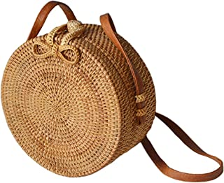 037fca873b643 Forart Handwoven Round Rattan Bag Shoulder Leather Straps Natural Chic  Crossbody Bags