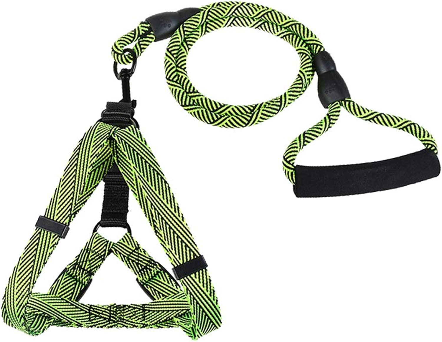 LZRZBH Pet Supplies Dog Chest Strap Set Jinmao Samoyed Small and Medium Dog Hyena Rope Traction Rope, Rope Length 116cm (color   Green, Size   XL)