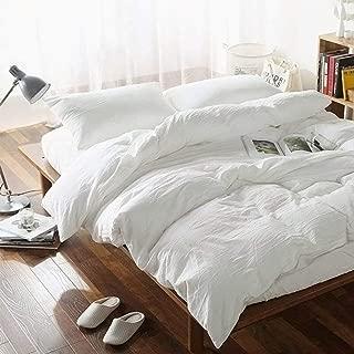 FOSSA WashedCottonDuvetCoverSetQueen 3 Piece Bedding Sets SoftWrinkledSolidDesign (Queen, Off White)