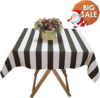 USTIDE Large Black and White Striped Tablecloth Cotton Tablecloth Restaurant Table Cover for Party, Oblong, 55''x86.6''