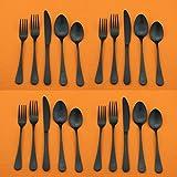 Kitchen Silverware Cutlery Set Stainless Steel 20-Piece Matte Black Dinnerware Flatware Set For...