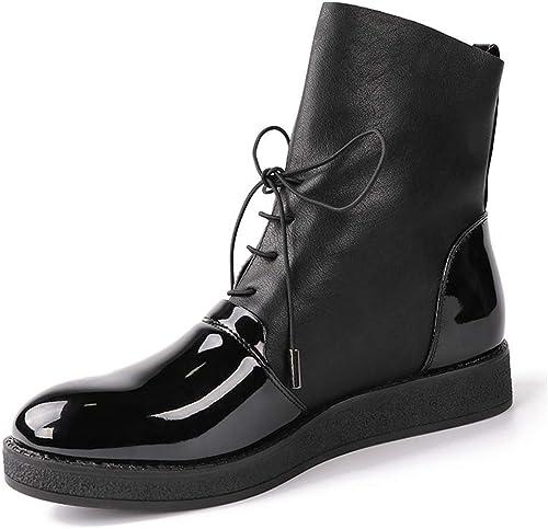 ZHRUI Les Les Femmes Bottes en Cuir Verni PU de Mode féminine Chaussures Cool Plate-Forme d'équitation Bottes pour Les Les dames (Couleuré   Noir, Taille   5 UK)  centre commercial de la mode