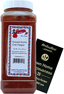 Bolner's Fiesta Extra Fancy Ground Ancho Chili Pepper Powder Plus Recipe Booklet Bundle (16 Ounces)