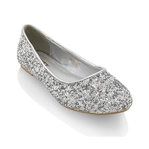 8e6265dc5abe ESSEX GLAM Womens Ladies Flat Ballet Glitter Bridal Bridesmaid Prom Dolly  Sparkly Pumps Slip On Shoes