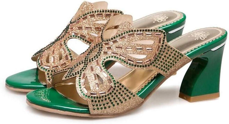 ZHZNVX Women's Synthetics Summer Sandals Chunky Heel Green Almond
