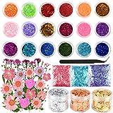 Sntieecr Kit per la creazione di gioielli in resina da 47 pezzi con glitter, paillettes, fiori secchi, accessori in resina e kit di forniture per artigianato in resina fai-da-te e nail art