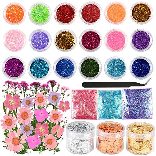 Sntieecr 47 PCS Kit de suministros de resina para hacer joyas con purpurina, lentejuelas, flores secas, accesorios de resina y kit de suministros para manualidades de resina y decoración de uñas