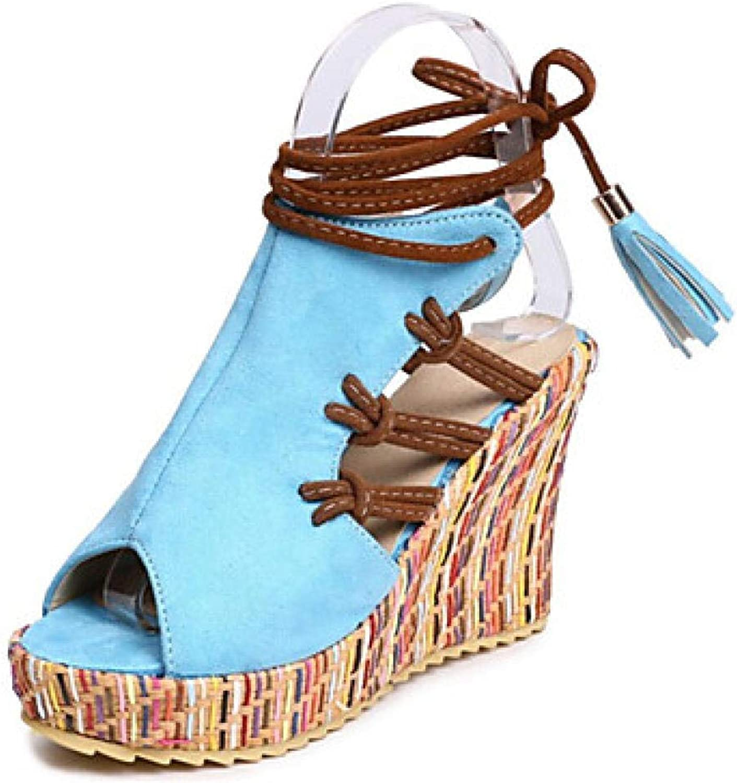 Damen PU (Polyurethan) Sommer Sandalen Keilabsatz Peep Toe Quaste Orange Orange Beige Blau@Blau_US6   EU36   UK4   CN36  für den Großhandel