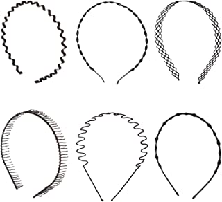 Folora 6pcs Unisex Black Spring Wavy Metal Hair Hoop Band Men Women Sports Headband Headwear Bandeau Accessories