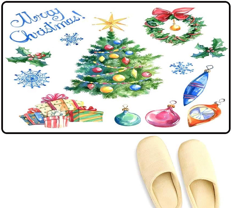 Interior Doormat Watercolor Christmas Set Tree christmasdecorations Balls an i