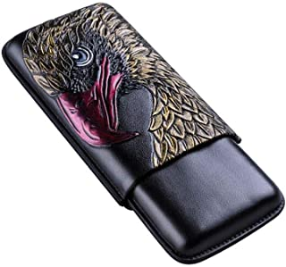 FRDYB 3 Packs of Convenient Cow Leather Gift Box Packaging Cigar Moisturizing Sleeve, Eagle Pattern, (Color : Black)