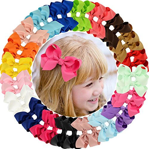 40pcs Baby Girls Clips 2.5' Grosgrain Boutique Solid Color Ribbon Hair Bows Clips for Baby Girls Teens Infants Kids Toddlers Children Set of 20 pairs
