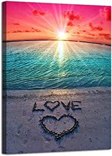 AGCary Beach Love Sunset Poster with Framed Print Canvas Painting Picture Wall Art for Home Decorations Wall Decor 12 x 16