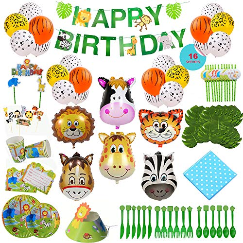Read About Animal-Themed Birthday Party Supply, 228 PCS - 16 Serves, Jungle Zoo Farm Safari Invites/...