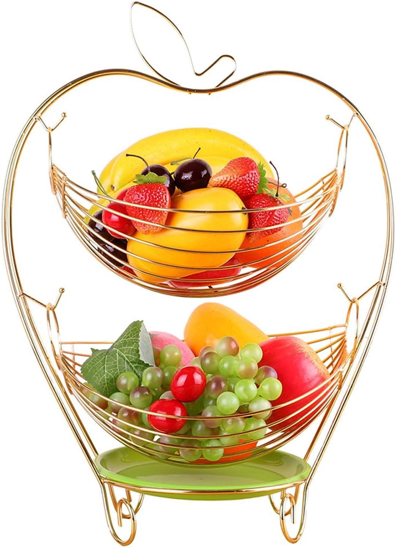 ZfgG Panier de drainage de hamac de fruit oscillant 2 rangées en acier inoxydable Panier de drainage (Couleur   Or)