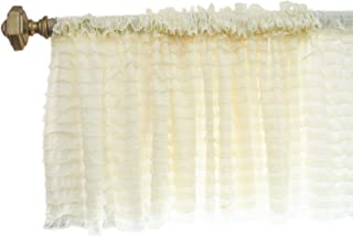 A Vision to Remember Ivory Sheer Ruffle Valance Extra Wide Window Treatment