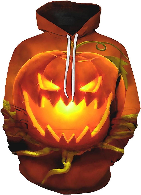 LEIYAN Halloween Mens Hooded Pullover Long Sleeve Hipster Pumpkin Printed Athletic Gym Workout Sweatshirt Pullover