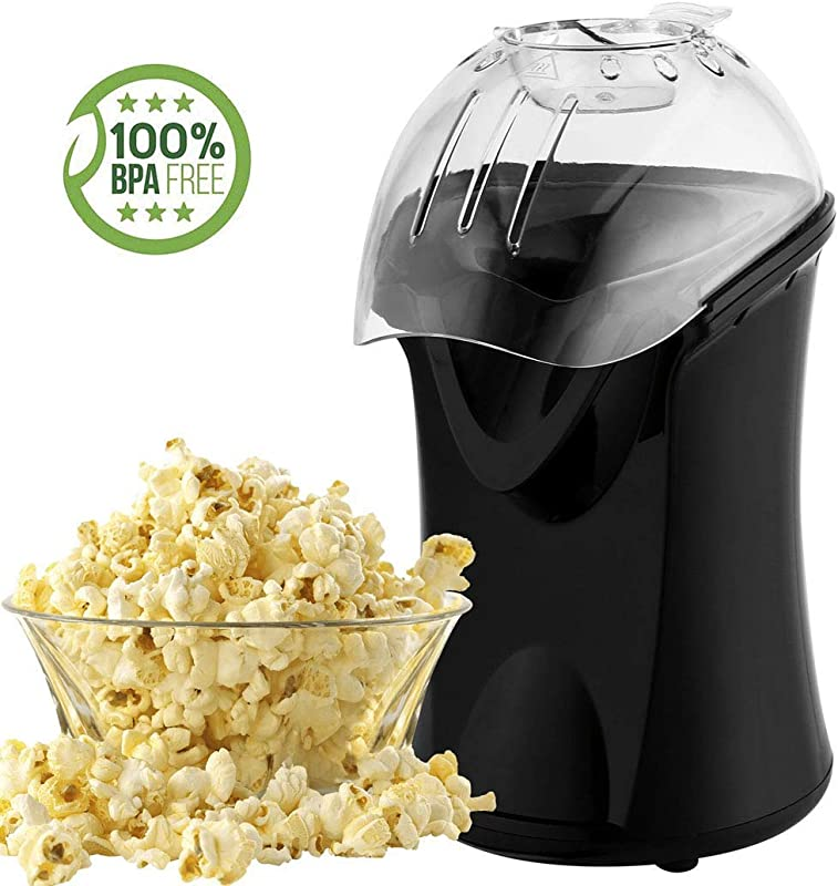 Popcorn Maker Popcorn Machine 1200W Hot Air Popcorn Popper Healthy Machine No Oil Needed Black