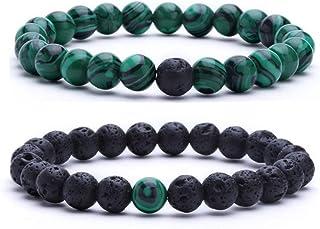 MengPa Beaded Bracelets for Women Men Anxiety Essential Oil Volcanic Stone Bead Bangle Yoga Aromatherapy Bracelet Set