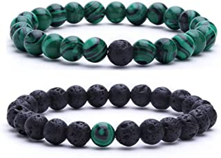 MengPa Mens Lava Stone Rock Bracelet for Women Aromatherapy Anxiety Essential Oil Diffuser Bead Couples Bangle