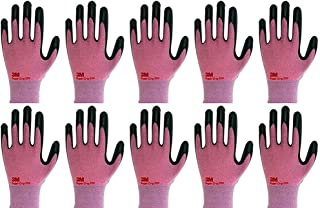 3M Lightweight Nitrile Work Gloves Supegrip200, 3D Comfort Stretch Fit, Durable Power Grip Foam Coated, Smart Touch, Thin Machine Washable, 10 Pairs Pack (Large, Pink)