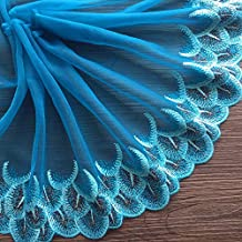 ZAIONE Peacock Feather Embroidery Lace Trim Ribbon Fabric 3 Yards Width 7.8