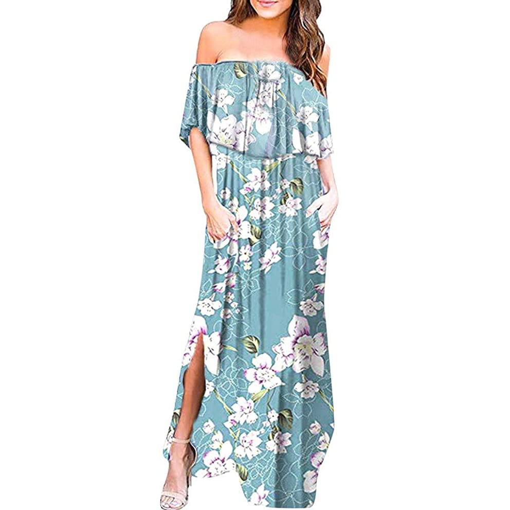 Womens Off Shoulder Floral Maxi Dress Ruffle Party Dresses Side Split Beach Dress