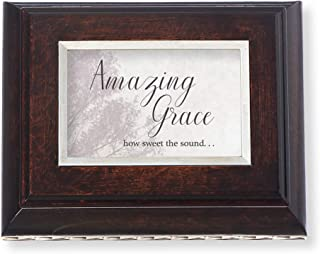 Roman Music Boxes - Amazing Grace Burled Wood Finish with Silver Leaf Accents Music Box - Plays Amazing Grace