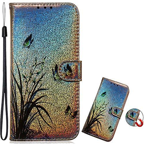 Flip Leder Diamond für Huawei P20,Magnet Sparkle Billig Glitter Glitzer Musterg Soft Slim Retro Bookstyle Stand Funktion Karteneinschub Wallet Hülle