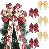 Topper de Árbol de Navidad con 6 Lazos a Cuadros de Búfalo de Navidad Lazo de Corona de Arpillera Hecho a Mano Lazo Rústico de Arpillera de Cuadros para Decoración de Árbol de Navidad