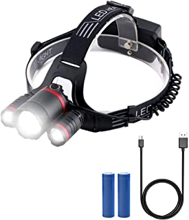 BicycleStore LED Headlamps Super Bright Head Torch 5 Settings USB Rechargeable Zoomable Headlight 3000 Lumens Waterproof Flash Light for Running, Fishing, Hiking, Cycling, Camping, Dog Walking, etc