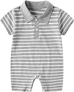 طفل صبي انسان محترم لعبة البولو الرقبة رومبير مولود جديد شرائط بذلة كم قصير ارتداءها صيف ملابس (Color : Gray, Size : 59CM)
